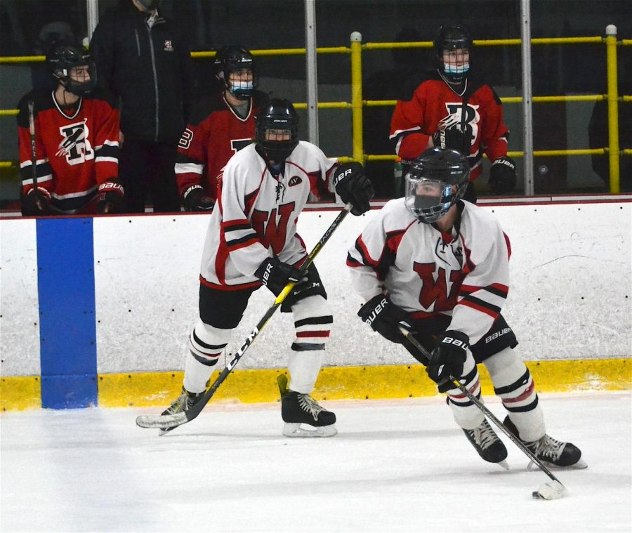 (3 of 4) Sophomore Aidan Campbell (9) and Watertown's JV boys' hockey team fell to Reading, 8-0, on Jan. 31, 2021, at John A. Ryan Arena.