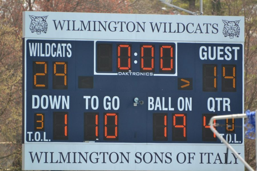 A postgame scene from Watertown High's football game at Wilmington on Saturday, April 10, 2021. The Raiders lost, 29-14, at Alumni Stadium.