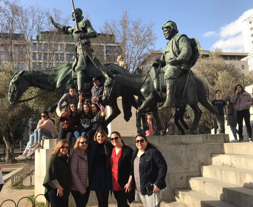 Watertown High students and teachers pose at the Don Quixote monument in the La Plaza de España in Madrid during the February 2019 trip.