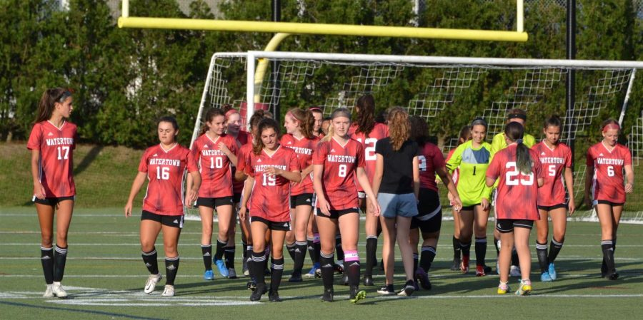 Scenes+from+the+Watertown+High+School+girls+soccer+2021+season+opener+on+Sept.+8+at+Victory+Field.+The+Raiders+defeated+visiting+Arlington+Catholic%2C+3-0.+